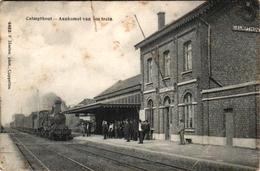 1 Postkaart  Kalmphout   Calmpthout  Station  Aankomst Van Den Trein Uitgever Hoelen Stoomtrein - Kalmthout