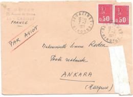 LETTRE  POUR ANKARA .TURQUIE POSTE RESTANTE..P.A..N°1664 X 2..1971.TIMBRE N°1987.TURQUIE AUDOS VOIR SCAN - 1971-76 Marianne Of Béquet
