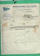 Peniche 1930 Courrier  Des Messageries Fluviales à Mr Linchant Capitaine De La Peniche Automoteur MF 98 - Old Paper