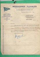Peniche 1930 Courrier 1929  Des Messageries Fluviales à Mr Linchant Capitaine De La Peniche Automoteur MF - Old Paper