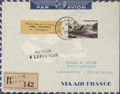 YT 843 CAD Paris Aviation 7 Or De Cli? Recommandé Paris XVIII Annexe I Vignette 1er Service Air France Paris Tananarive - Correo Aéreo