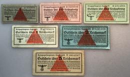 KRIEGSGEFANGENEN LAGERGELD WEHRMACHT 1939-45 Ro 515-520 (II.WK WW2 POW Gutscheine Banknoten Deutsches Reich Billet Camp - Verrechnungsscheine - Dt. Wehrmacht