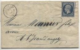 N°10 Filet Haut Effleuré Oblitéré Petits Chiffres Sur Belle Lettre De 1853 - 1852 Luigi-Napoleone