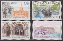 Abbaye De Cluny, Abbaye De Flaran - FRANCE - Cap Canaille, Cassis, Pont Canal  De Briare - N° 2657 à 2660 ** - 1990 - France