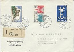 LETTRE RECOMMANDEE POUR LA SARRE 1958 AVEC 3 TIMBRES  ET CACHET  DE FORBACH - MOSELLE - - 1921-1960: Moderne