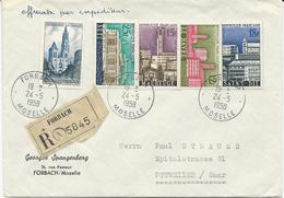 LETTRE RECOMMANDEE POUR LA SARRE 1958 AVEC 5 TIMBRES  ET CACHET  DE FORBACH - MOSELLE - - 1921-1960: Moderne
