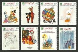 ST VINCENT 1991 DISNEY VINTAGE CHRISTMAS CARDS MUSIC WILDLIFE ELEPHANTS DOGS SET MNH - St.Vincent (1979-...)