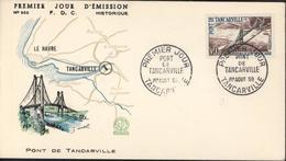Enveloppe 1er Premier Jour D'émission N°302 FDC Historique Pont Tancarville YT 1215 Variété Bleu Clair - Variedades Y Curiosidades