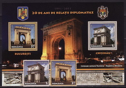 Romania, 2011, 20 Years Of Diplomatic Relations With Moldova, 2 Stamps, Block - 1948-.... Repúblicas