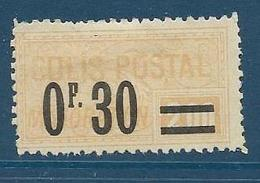 Timbre Neuf* France, N°35 Yt, Colis Postaux, Majoation, ,1918, 0.30 Sur 2.00, Charnière, - Neufs