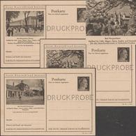 Allemagne 1942. 3 Entiers Postaux Touristiques Perforés Druckmuster, Spécimen. Maladies De L'estomac, Intestin, Diabète - Hydrotherapy