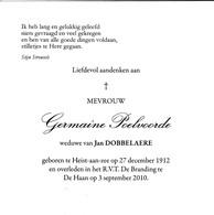 G.POELVOORDE °HEIST Aan ZEE 1912 +DE HAAN  (J.DOBBELAERE) - Religion & Esotericism
