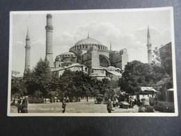 19950) ISTAMBUL MOSQUEE DE SAINTE SOPHIE VIAGGIATA 1933 BOLLO NON TIMBRATO E TASSATA CURIOSO TIMBRO BARI - Turchia