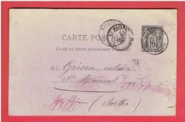 MEREVILLE 1878 ENTIER POSTAL POUR GRISON NOTAIRE A SAINT MAIXENT DANS LA SARTHE CARTE EN TRES BON ETAT - Mereville
