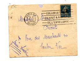 Lettre Flamme Paris Coller Haut Droite - Marcophilie (Lettres)