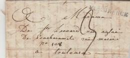 Lettre De St Leonard Marque Postale 31 FLEURANCE Gers Taxe Manuscrite à Toulouse Haute Garonne - Marcophilie (Lettres)