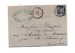 Lettre Cachet Convoyeur Pours à Paris  Sur Sage + Saint Cheron - Marcophilie (Lettres)