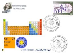 DZ Algeria 1836 2019 Anno Internazionale Della Tavola Periodica Elementi Chimici Dmitry Mendeleev Chimica Cobre - Química