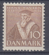 +D3253. Denmark 1936. Reformation. 10 øre Tausen. Weak Corner Fold. MNH(**) - Unused Stamps