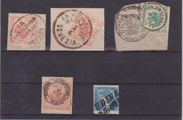 LOMBARDO - VENETIE : 5 EX . TJ ET TAXES POUR JOURNAUX . DONT 4 EX SUR FGT . 1858/60 . - Lombardo-Venetien