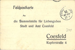 Feldpost 1. WK 13. Infanterie Division Nach Coesfeld - Lettres & Documents