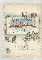 Mignonnette Double De Vœux. Oiseaux Devant Un Village Enneigé. Signé Luce André. - Neujahr