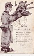 CPA Militaria Patriotique Anti-Kaïser Guillaume II Anti Boche Menu Tête De Cochon Porc Pig Illustrateur (2 Scans) - Patrióticos