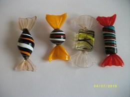 Lot De 4 Bonbons En Verre De MURANO - Verre & Cristal