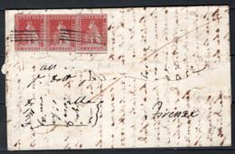 Toscana 1851 1cr Coppia + 1cr Su Lettera Per Firenze 15/4/55 Sass.4a O/Used VF/F - Toscana