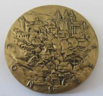 Achat Immédiat - Enorme Médaille De La Ville De Conques En Bronze Florentin Signée BADUEL - Diam. 9 Cm - Poids : 339 Gr - Professionnels / De Société