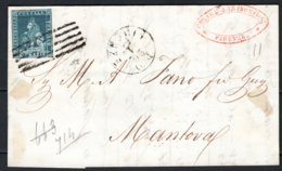 Toscana 1851 6cr Su Lettera Da Firenze A Mantova 20/1/54 Sass.7d O/Used VF/F - Tuscany