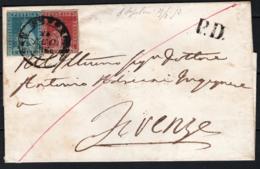 Toscana 1851 1cr+3cr Su Lettera Da S.Sepolcro A Firenze 21/8/53 Sass.4+5 O/Used VF/F - Tuscany