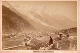 Photo Ancienne Sur Carton - Chamonix Et Le Mont Blanc ( Dim 16x10 Cm) - Photos