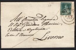 Toscana 1851 2cr Su Lettera Da S.Marcello A Livorno 22/1/57 Sass.5f O/Used VF/F - Tuscany