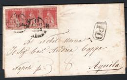 Toscana 1851 1cr Striscia Di 3 Su Lettera Da Firenze A L'Aquila 10/4/54 Sass.4 O/Used VF/F - Tuscany