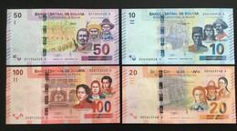 BOLIVIA SET 10 20 50 100 BOLIVIANOS BANKNOTES (2018) UNC - Bolivia
