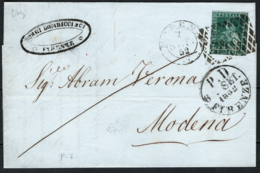 Toscana 1851 4cr. Su Lettera Da Firenze A Modena Sass.6 O/Used VF/F - Tuscany