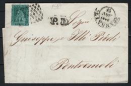 Toscana 1851 4cr. Su Lettera Da Livorno A Pontremoli 15/11/52 Sass.6a O/Used VF/F - Tuscany