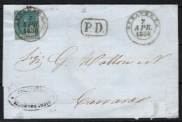 Toscana 1857 2cr. Su Lettera Da Seravezza A Carrara 7/4/58 Sass.13 O/Used VF/F - Tuscany