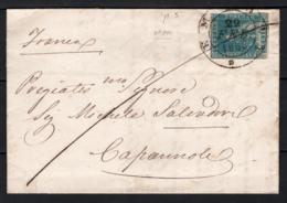Toscana 1857 2cr. Su Lettera Da Empoli A Capannoli 22/2/58 Sass.13 O/Used VF/F - Toscana