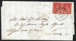 Toscana 1857 1cr. Coppia Su Lettera Da Prato A Lucca 8/1/58 Sass.12 O/Used VF/F - Tuscany