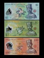 BRUNEI SET 1 5 10 RINGGIT BANKNOTES 2011 UNC POLYMER First Prefix D/1 - Brunei