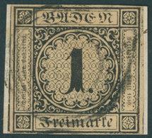 BADEN 1a BrfStk, 1851, 1 Kr. Schwarz Auf Sämisch, Allseits Vollrandig Auf Kleinem Briefstück, Kabinett, Mi. (1000.-) - Baden