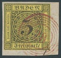 BADEN 2b BrfStk, 1852, 3 Kr. Schwarz Auf Gelb Mit Nummernstempel 28 (DURLACH) In Rot, Kabinettbriefstück, Signiert Krusc - Baden