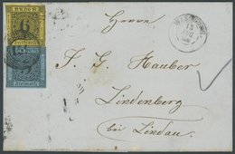 BADEN 7,8 BRIEF, 1860, 6 Kr. Schwarz Auf Gelb (teils Angeschnitten) Mit Fast Vollrandiger 3 Kr. Schwarz Auf Lebhaftgrauu - Baden
