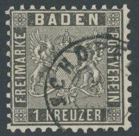 BADEN 13a O, 1862, 1 Kr. Schwarz, K2 SCHOPFHEIM, Pracht, Mi. 130.- - Baden