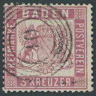 BADEN 16 O, 1862, 3 Kr. Rosakarmin, Nummernstempel 10 (RHEINFELDEN), Minimale Bugspur, Pracht, Gepr. Flemming, Mi. 350.- - Baden