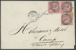BADEN 18 Paar BRIEF, 1866, 3 Kr. Hellrot Im Paar Und Einzelmarke (einige Bräunliche Zähne) Mit Nummernstempel 115 Auf Br - Baden