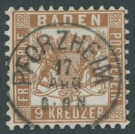 BADEN 20a O, 1866, 9 Kr. Lebhaftrötlichbraun, Zentrischer K1 PFORZHEIM, Kabinett, Gepr. Drahn - Baden