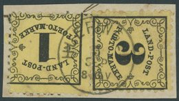 BADEN LP 1,2xI BrfStk, 1862, 1 Und 3 Kr. Schwarz Auf Gelb, 3 Kr. Mit Plattenfehler Erstes O In Porto Offen, K1 HUEPINGEN - Baden